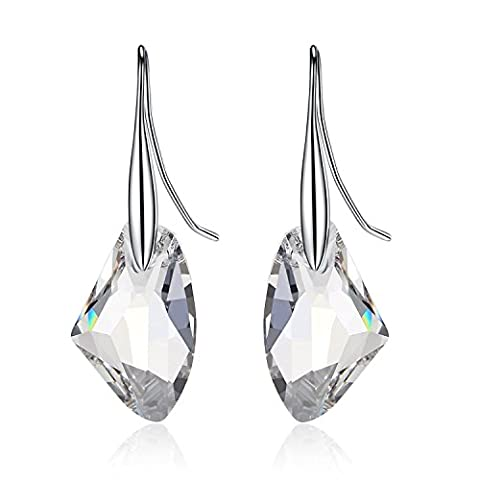 URBAN SHe° Geometric Rock Crystal Silver Drop Dangling Earrings - Made with Swarovski Elements Mutiple Colour (Crystal Clear)