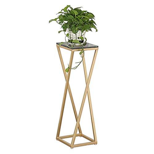 Nordic-Art-Metalltopf Garten Terrasse Ausstellungsstand for Home Office Schreibtisch, Schmiedeeisen Pflanzengarten-Blumen-Topf-Ausstellungsstand (Gold) wzmdd (Size : 50CM)