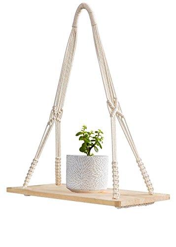 Mkouo mensole da parete con corda in macramè, per appendere piante, mensole sospese, portaoggetti, ripiano in legno per vasi di fiori, cornici per foto, libri, cd
