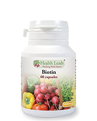 Biotin (Vitamin B7) 1000mcg x 60 capsules (Magnesium Stearate Free) from Health Leads UK