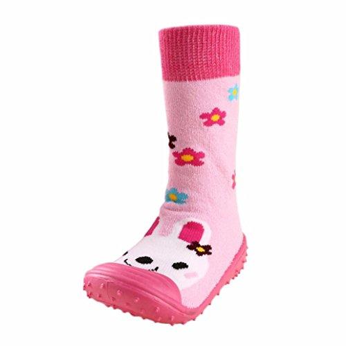 JERFER Boden Socken Rutschfeste Gummisohlen Schuhe-Premium Weich Leder Babyschuhe Jungen und Mädchen Babyschuhe - Neugeborene bis 1-3.5Jahre (21, Heißes Rosa) (Converse Rutschfeste Schuhe)