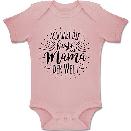 Sprüche Baby - Ich Habe die Beste Mama der Welt - 12-18 Monate - Babyrosa - BZ10 - Baby Body Kurzarm Jungen Mädchen