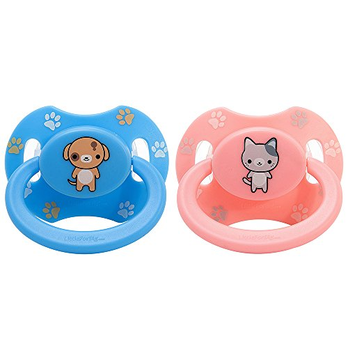 LittleForBig Bigshield Generation 2 Erwachsene Größe Schnuller Dummy für Erwachsene Baby ABDL-Rosa Kätzchen und Blau Welpe
