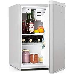 Klarstein CoolZone Grey Edition - Réfrigérateur-congélateur encastrable,3 étagères en verre réglables en hauteur et compartiment pour légumes, 241L, Niveau sonore de 41 dB, Système ZeroFrost, Gris