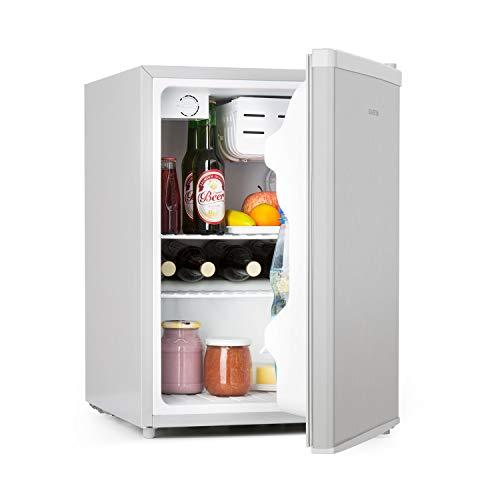 Klarstein Cool Kid Getränkekühlschrank • Mini-Kühlschrank • Mini-Bar • 66 Liter Volumen • Energieeffizienzklasse A+ • 109 kWh/Jahr • freistehend • 45 x 63 x 51 cm (BxHxT) • 42 db • Edelstahl • silber