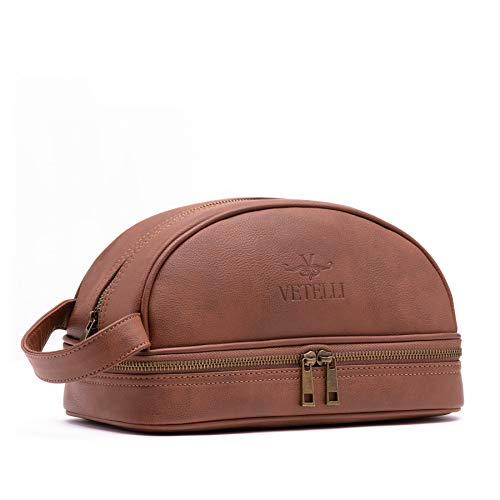 3c66efcfaf66 Vetelli Men s Leather Toilet Toiletry Bag (Dopp Kit