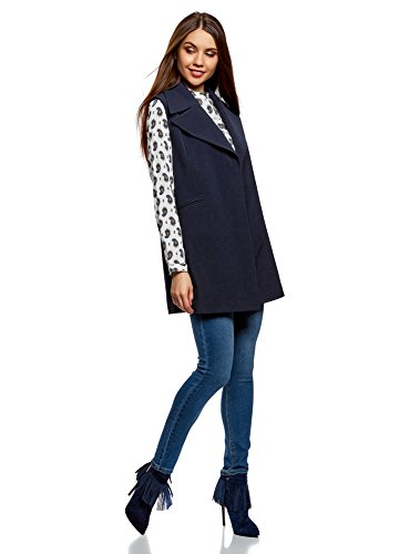 oodji Collection Donna Gilet Lungo con Revers Ampi Blu (7900N)