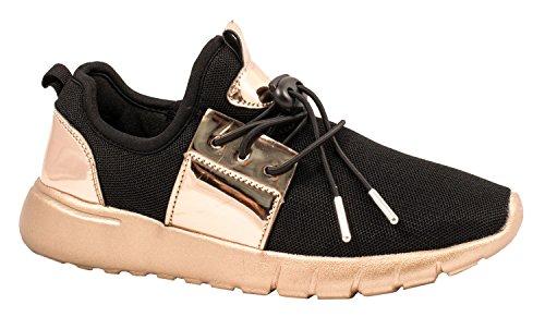 Elara Damen Sneaker | Trendy Low Top Schuhe | Schnürer Metallic