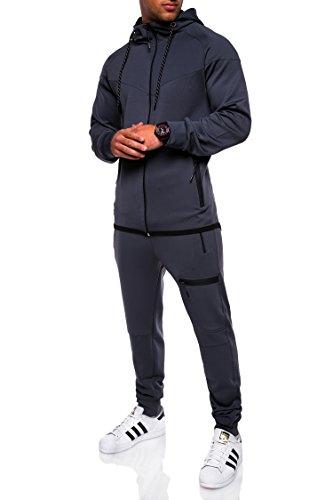 MT Styles Trainingsanzug mit Zipper Jogginganzug Sportanzug R-1089 Dunkelgrau
