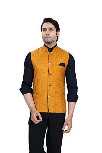 Wallson Ethnic waistcoat blazers for men slim fit party wear (DSC01585-44_Orange)
