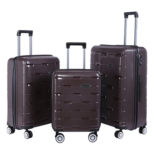 Nasher Miles Santorini PP Hard-Sided Luggage Set Of 3 Trolley/Travel/Tourist Bags (55, 65 & 73.5 Cm) Brown