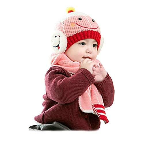 WOF Cute Baby Boy Girl Wintermütze, Schal Set, Kinder Beanie Hüte Herbst Winter Warm Knit Weiche Baumwolle Schal Schal für Neugeborene Kinder 6 Monate -4 Jahre Boys Knit Winter Hut