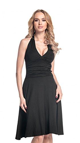 Glamour Empire. Damen Jersey Kleid Tiefer V-Ausschnitt Wickeloptik S-4XL. 145 (Schwarz, EU 36, S) - Schwarz Jersey Geraffte Kleid