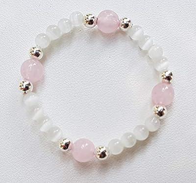 Bracelet fillette en perles naturelles quartz rose