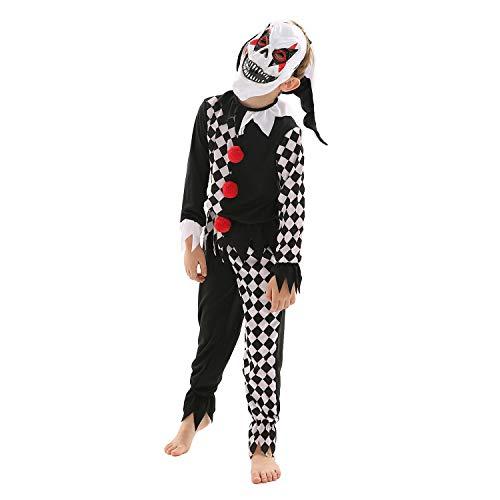 Forever Young Kinder Joker-Kostüm Gruselig Halloween Clown Outfit + Maske Gr. 9, Schwarz (Joker Kostüm Kleinkind)