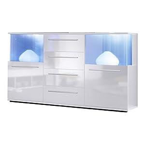 trendteam smart living Wohnzimmer Sideboard Kommode Punch,141,5 x 82 x 40 cm in Korpus Weiß, Front Weiß Glanz mit viel…