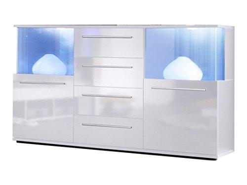 trendteam smart living Wohnzimmer Sideboard Kommode Schrank Punch, 141 x  82 x 40 cm in Korpus Weiß, Front Weiß Glanz mit LED Unterbodenspots