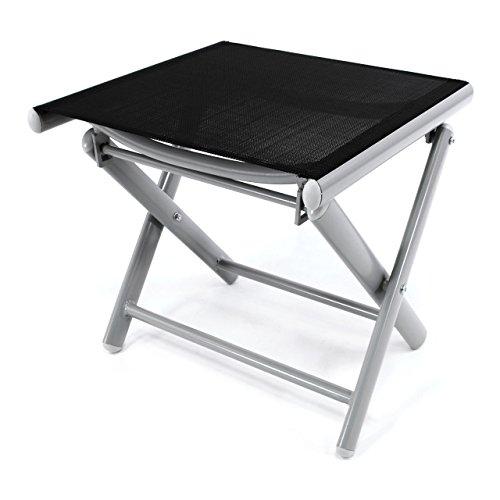 Nexos ZGC34465 Klapphocker Sitzhocker Campinghocker Fußteil aus Aluminium und Textilene schwarz pulverbeschichtet Rahmen Hellgrau Sitzhöhe 42 cm für Balkon Terrasse,