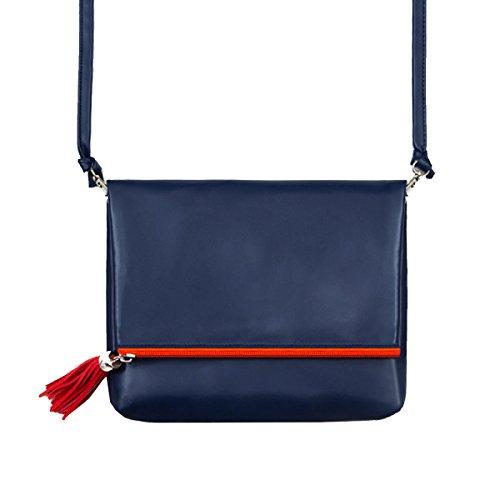 Yy.f Bestickte Fransen Umhängetasche Retro- Beutel Kunst PU-Schulterbeutel Kurierbeutel Gefaltet Personalisierte Mehrfarbigen Beuteln Blue