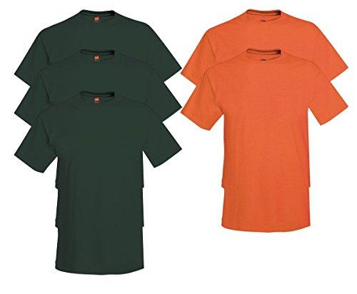 Hanes Comfort Soft Crew Neck 5 Pack Tee (Pack of 5) 3 Deep Forest / 2 Orange