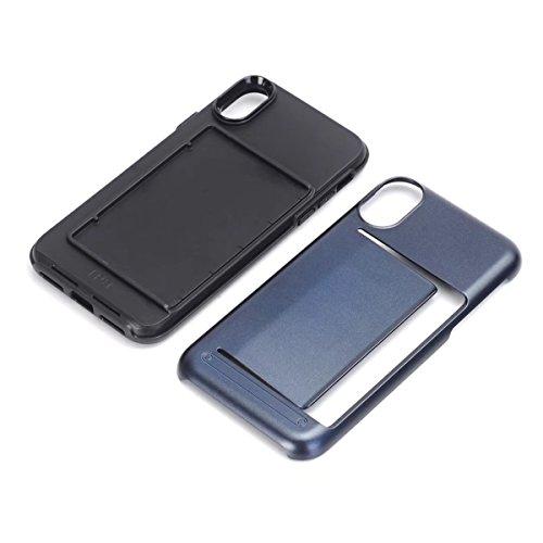 iPhone X Handycover, MOONMINI für iPhone X Dual Layer Hybrid Hülle Brieftasche Kartensteckplätze Handy Tasche Case Slim Fit Hard PC Weich TPU Stoßfest Back Abdeckung Beschützer Shell mit Kartenschlitz Dunkelblau