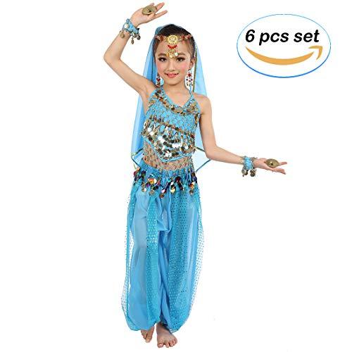 Magogo Mädchen Bauchtanz Kostüm Party Fancy Dress Glänzende Karneval Outfit, Kinder Arabische Prinzessin Kleidung Cosplay Dancewear (L, Hellblau)
