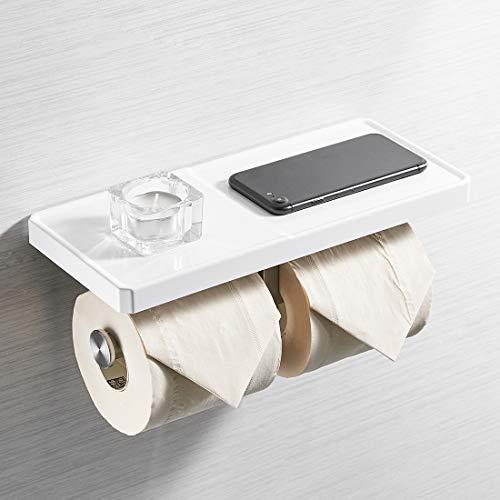 AIMADI Doppel-Toilettenpapierhalter mit Ablage, ABS-Edelstahl, 2-in-1-Wandhalterung, für Badezimmer, Seidenpapierrollen, mit Handy-Ablage