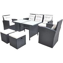 vidaXL Gartenmöbel Set 18tlg. Poly Rattan Essgruppe Sitzgruppe Gartengarnitur