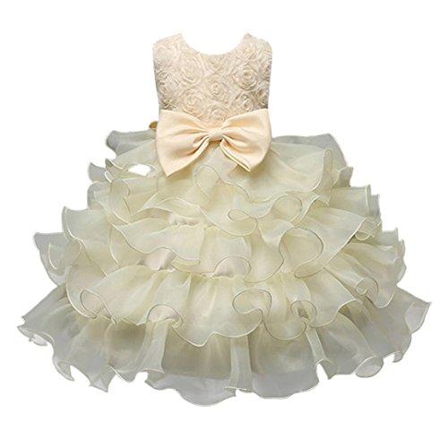 ❤️Kobay Kinder Baby Mädchen Blumen Geburtstag Hochzeit Brautjungfer-Festzug Prinzessin Abendkleid (90/2-3Jahr, Beige)
