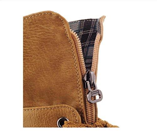 WZG mode européenne et américaine nouveau tempérament d'hiver épais avec Martin bottes dentelle ronde bottes à talons sauvages Yellow