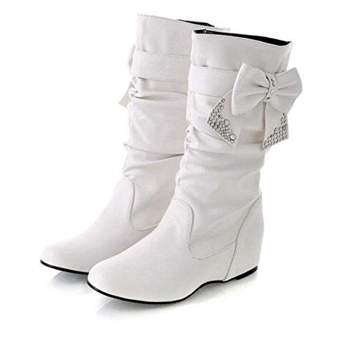 stivali PU allinterno delle donne più tacchi alti stivali arco di diamanti white