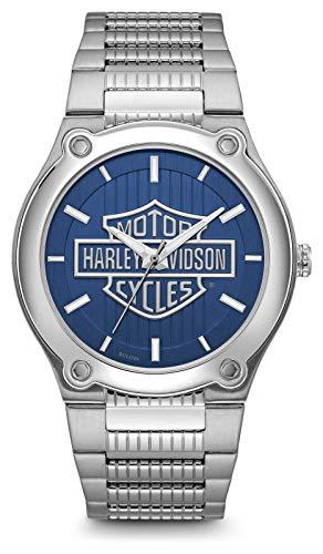 Harley Davidson Bracciale in acciaio inossidabile con quadrante blu con logo stampato 76A159