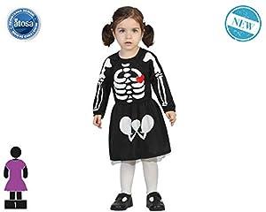Atosa-61204 Atosa-61204-Disfraz Esqueleto-Bebé Niña, Color negro, 24 Meses (61204