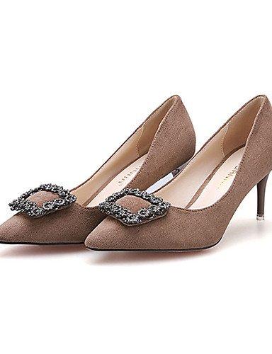 WSS 2016 Chaussures Femme-Décontracté-Noir / Vert / Bordeaux / Kaki-Talon Aiguille-Talons-Talons-Laine synthétique khaki-us5 / eu35 / uk3 / cn34