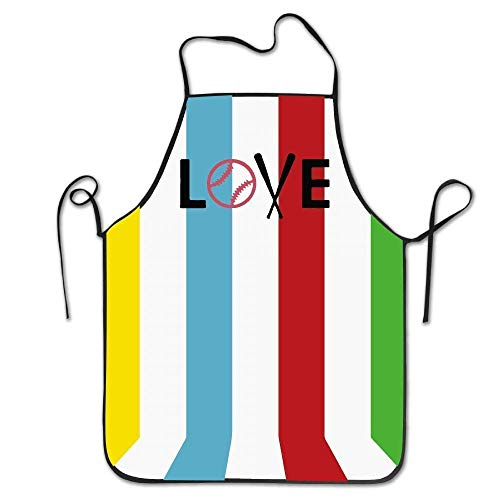 LarissaHi Liebe Baseball Frauen Männer Küche Lätzchen Schürze Blumenladen Tee Laden Verstellbarer Hals Kochschürze
