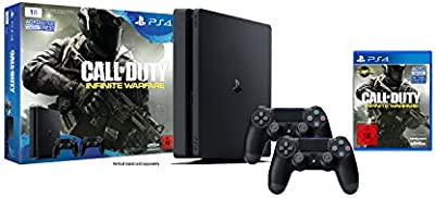 Playstation 4 - Konsole (1TB, Schwarz,Slim) Inkl. Call Of Duty: Infinite Warfare + 2 Dualshock 4 Contoller [Importación Alemana]