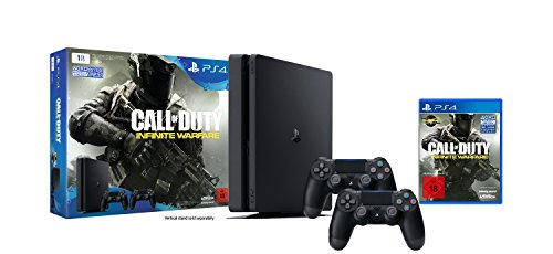 PlayStation 4 - Konsole (1TB, schwarz,slim) inkl. Call of Duty: Infinite Warfare + 2 DualShock 4 Contoller -