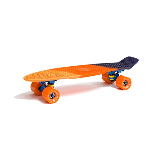WUBOX Skateboard 22' 23' 27' Penny Board Retro Mini Cruiser Board Patineta, Skateboard Modell:Fish Tri-Color 22, Skateboard Farbe:Gelb/Orange/Schwarz