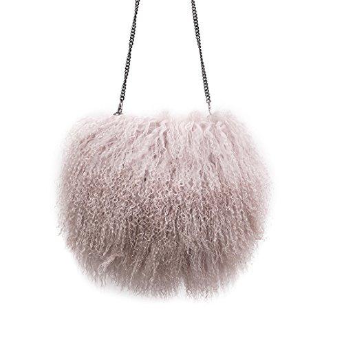 USFUR Damen Fashion Echte mongolische Lammfell Umhängetasche Bärchen Schultertasche Henkeltaschen Shopper - Salmon pink (Shopper Lammfell)
