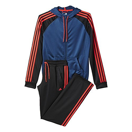adidas Damen Trainingsanzug New Young Knit, Blau/Schwarz/Orange, M, 4055343984131