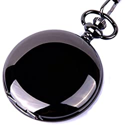 Pocket Watch Quartz Movement Black Case White Dial Arabic Numerals with Chain Full Hunter Design PW-23