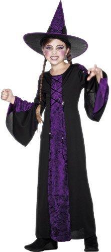 Fancy Me Mädchen Velours violett & schwarz Gruselige Hexe & Hut TV Buch Film Welttag des buches-Tage-Woche Halloween Kostüm Kleid Outfit 4-12 Jahre - schwarz/lila, 7-9 Years -