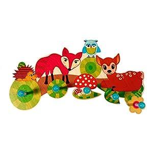 Hess Holzspielzeug 30303 – Garderobe aus Holz, Serie Waldtiere, mit 5 Haken, für Kinder, ca. 37 x 22 x 6,5 cm…