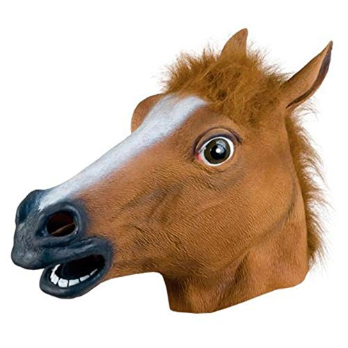 BONNIO Neuheit Halloween Kostüm Latex Tierkopf Maske Pferd Caps Erwachsene Kinder Maskerade Party Cosplay (Billige Maskerade Masken)