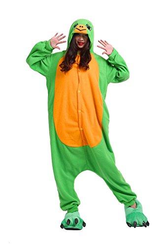 (DarkCom Erwachsene Onesies Frauen Pyjamas Sleepsuit Flauschige Kigurumi Halloween Kostüme Overall Schildkröte, X-Large)