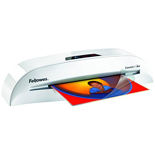 Fellowes Cosmic 2 A4 Laminiergerät für Zuhause/Home Office, laminiert 80-125 Micron Laminierfolien bis A4, inkl 10 gratis A4 Folien (Office Laminiergerät)