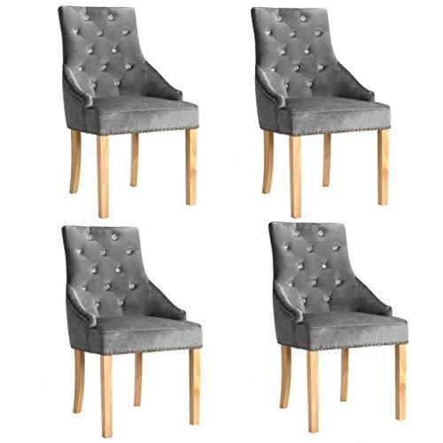 WT Trade 4er-Set Design Esszimmerstuhl SAMT-Bezug Silbern | Küchenstuhl Essstuhl Polstersessel |...