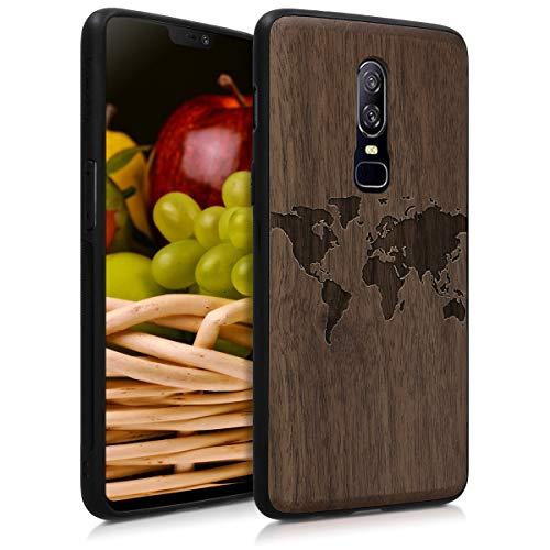kwmobile Holz Schutzhülle für OnePlus 6 - Hardcase Hülle mit TPU Bumper Walnussholz in Weltkarte Umriss Design Dunkelbraun - Handy Case Cover