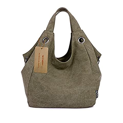 Ladies Canvas Tote Bags, WITERY Casual Durable Vintage Canvas Tote Bag Top Handle Bags Shoulder Bag Handbags Shopping Bag for Women Army Green