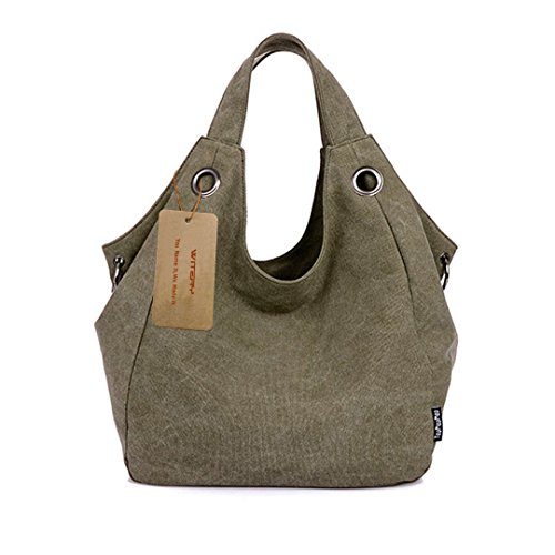 witery Damen Vintage Canvas Tote Bag Handtasche Shopping Bag Schulter Tasche Handtasche, Armee-Grün (Grün) - CLOA0019-02